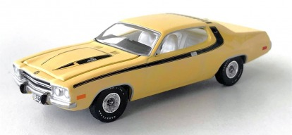 gallery/74 road runner ljusgul aw lös 1a vintage muscle premium hobby exclusive version a svarta stripes vit inredning